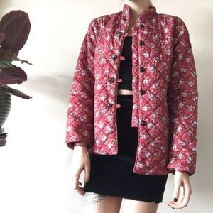 Vintage Red Quilted Jacket / mandarin collar / S